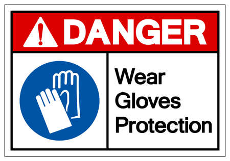 Danger Wear Gloves Protection Symbol Sign, Vector Illustration, Isolate On White Background Label .