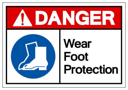 Danger Wear Foot Protection Symbol Sign,Vector Illustration, Isolated On White Background Label. Vettoriali