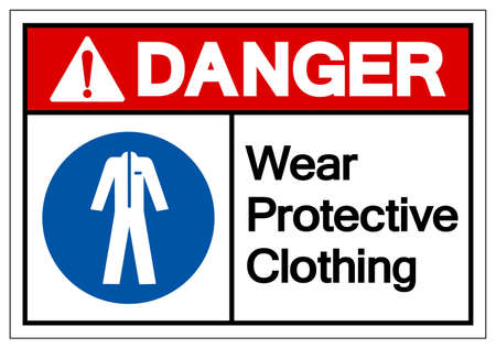 Danger Wear Protective Clothing Symbol Sign,Vector Illustration, Isolated On White Background Label. Vettoriali