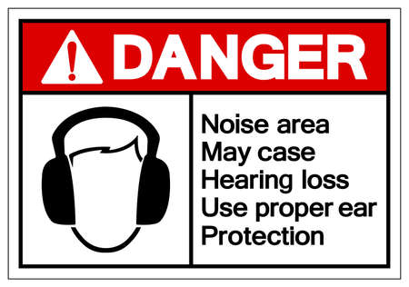 Danger Noise area May case Hearing loss Use proper ear ProtectionSymbol Sign,Vector Illustration, Isolate On White Background Label.