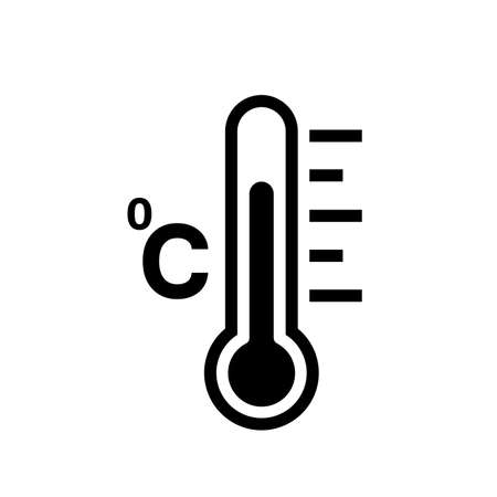Fever Temperature Black Icon,Vector Illustration, Isolated On White Background Label. EPS10