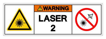 Warning Laser 2 Symbol Sign ,Vector Illustration, Isolate On White Background Label.