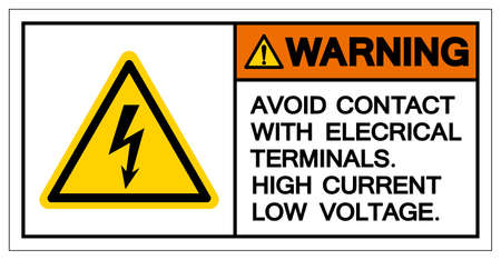 Warning Avoid Contact With Electrical Terminals High Current Low Voltage Symbol Sign ,Vector Illustration, Isolate On White Background Label. 矢量图像