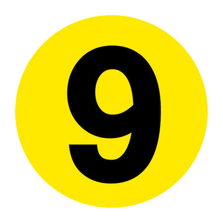 Number 9 Floor Marker Symbol, Vector Illustration, Isolate On White Background Label. EPS10