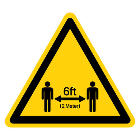 Warning Keep Your Distance 6ft Observe Social Distance Guidance Symbol, Vector  Illustration, Isolated On White Background Label. EPS10 向量圖像