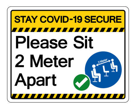 Stay Covid-19 Secure Please Sit 2 Meter Apart Symbol Sign, Vector Illustration, Isolate On White Background Label. 向量圖像