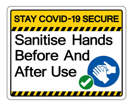 Stay Covid-19 Secure Sanitise Hands Before And After Use Symbol Sign, Vector Illustration, Isolate On White Background Label.