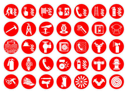 Set Of Fire Safety Collection Symbol Sign, Vector Illustration, Isolated On White Background Label .EPS 10 Vetores