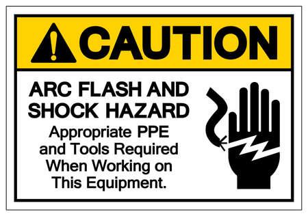 Caution ARC Flash And Shock Hazard Symbol Sign, Vector Illustration, Isolate On White Background Label . 向量圖像