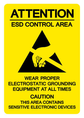 Attention ESD Control Area Symbol Sign, Vector Illustration, Isolated On White Background Label .EPS10