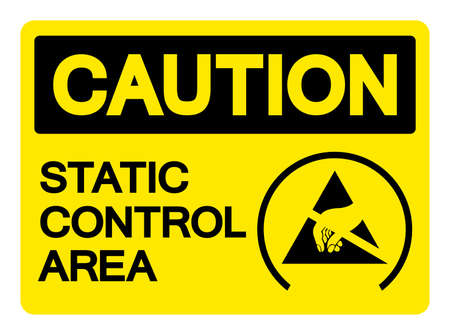 Caution Static Control Area Symbol Sign, Vector Illustration, Isolated On White Background Label .EPS10 向量圖像