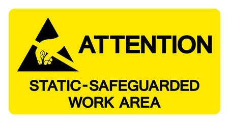Attention Static Safeguarded Work Area Symbol Sign, Vector Illustration, Isolated On White Background Label .EPS10 向量圖像