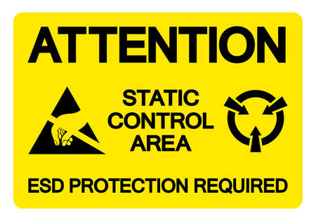 Caution Static Control Area ESD Protection Required Symbol Sign, Vector Illustration, Isolated On White Background Label .EPS10 向量圖像