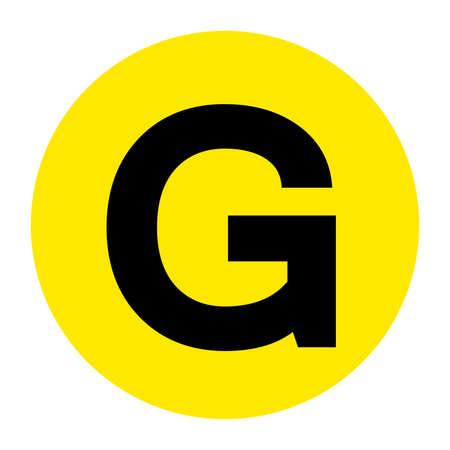 Letter G Floor Marker Symbol, Vector Illustration, Isolate On White Background Label.