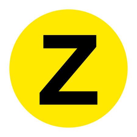 Letter Z Floor Marker Symbol, Vector Illustration, Isolate On White Background Label.