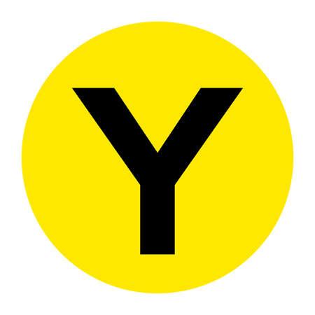 Letter Y Floor Marker Symbol, Vector Illustration, Isolate On White Background Label.