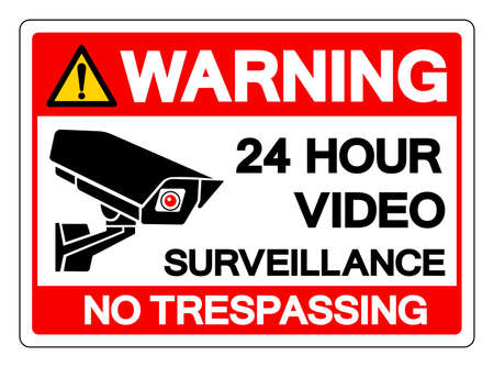 Warning 24 Hour Video Surveillance No Trespassing Symbol Sign, Vector Illustration, Isolate On White Background Label .EPS10 Vector Illustration