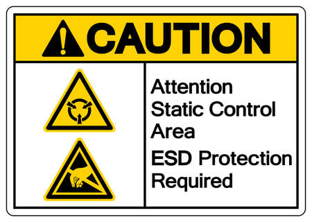 Caution Attention Static Control Area ESD Protection Required Symbol Sign, Vector Illustration, Isolated On White Background Label .EPS10