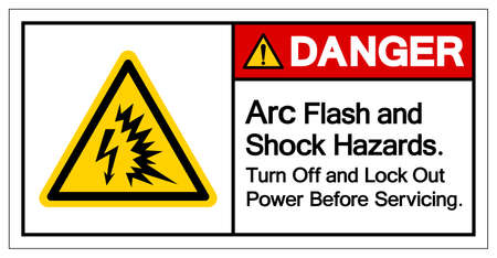 Danger Arc Flash and Shock Hazard Turn Off and Lock Out Power Before Serviceing Symbol Sign, Vector Illustration, Isolate On White Background Label .EPS10 向量圖像