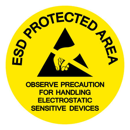 ESD Protection Area Observe Precaution For Handling Electrostatic Sensitive Device Symbol Sign, Vector Illustration, Isolated On White Background Label .