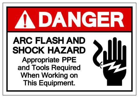 Danger ARC Flash And Shock Hazard Symbol Sign, Vector Illustration, Isolate On White Background Label .