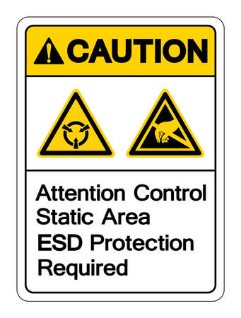 Caution Attention Static Control Area ESD Protection Required Symbol Sign, Vector Illustration, Isolated On White Background Label . 向量圖像