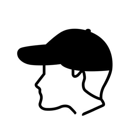 Wear Cap Black Icon,Vector Illustration, Isolated On White Background Label. 向量圖像