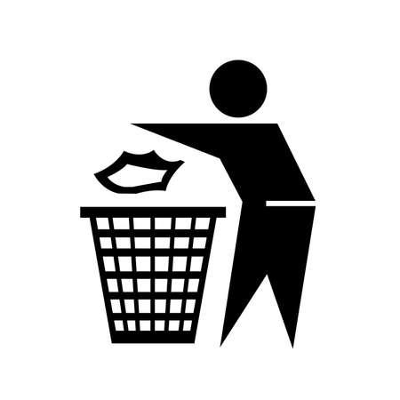 Do Not Litter Black Icon,Vector Illustration, Isolated On White Background Label. EPS10