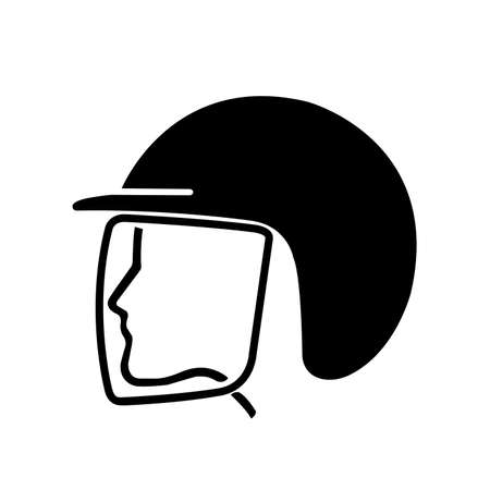 Wear Safety Helmet Black Icon,Vector Illustration, Isolated On White Background Label. EPS10