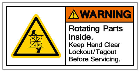 Warning Rotating Parts Inside Keep Hand Clear Lockout/Tagout Before Servicing Symbol Sign, Vector Illustration, Isolate On White Background Label .EPS10