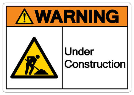 Warning Under Construction Symbol Sign,Vector Illustration, Isolate On White Background Labels, Label. EPS10