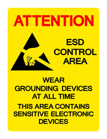 Attention ESD Control Area Wear Grounding Devices At All Time Symbol Sign, Vector Illustration, Isolated On White Background Label .EPS10 向量圖像