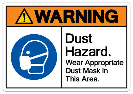 Warning Dust Hazard Wear Appropriate Dust Mask in This Area Symbol Sign,Vector Illustration, Isolated On White Background Label
