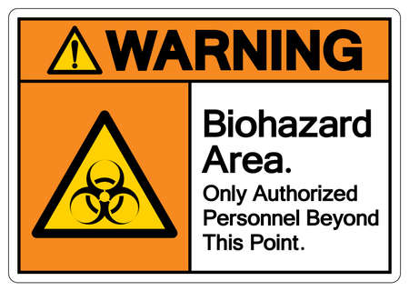 Warning Biohazard Area Only Authorized Personnel Beyond This Point Symbol, Vector Illustration, Isolate On White Background Label. 向量圖像