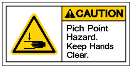 Caution Pich Point Hazard Keep Hands Clear Symbol Sign, Vector Illustration, Isolate On White Background Label .EPS10