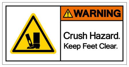 Warning Crush Hazard Keep Feet Clear Symbol Sign, Vector Illustration, Isolate On White Background Label .EPS10 Stock Illustratie