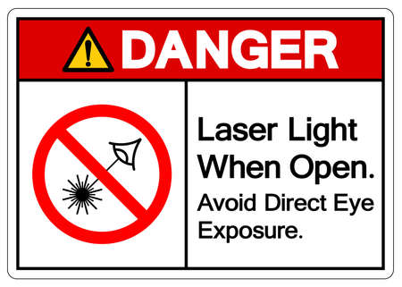 Danger Laser Light When Open Avoid Direct Eye Exposure Symbol Sign ,Vector Illustration, Isolate On White Background Label. EPS10