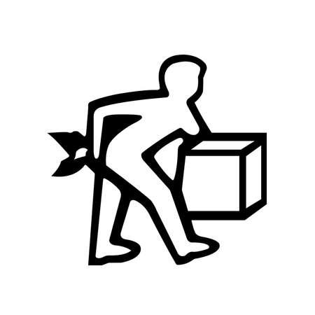 Lift Correctly Black Icon,Vector Illustration, Isolated On White Background Label. EPS10 Ilustração Vetorial