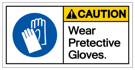 Caution Wear Pretective Gloves Symbol Sign, Vector Illustration, Isolate On White Background Label .EPS10 矢量图像
