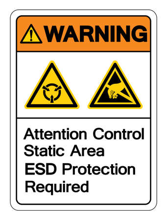 Warning Attention Static Control Area ESD Protection Required Symbol Sign, Vector Illustration, Isolated On White Background Label .EPS10 Ilustração