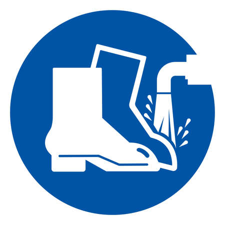 Foot Wash Must Be Used Point Symbol Sign ,Vector Illustration, Isolate On White Background Label. EPS10