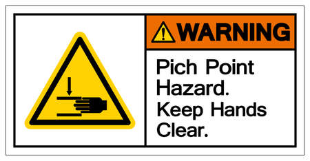 Warning Pich Point Hazard Keep Hands Clear Symbol Sign, Vector Illustration, Isolate On White Background Label .EPS10