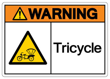 Warning Tricycle Symbol Sign,Vector Illustration, Isolate On White Background Label.
