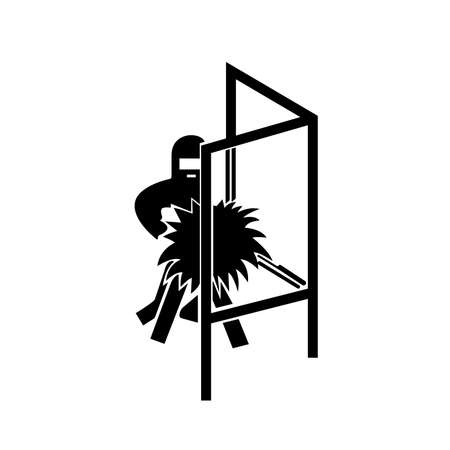 Welding Screen Black Icon, Vector Illustration, Isolate On White Background Label.