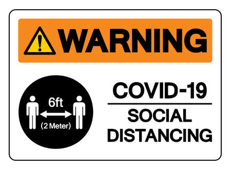Warning Covid-19 Social Distancing 6ft Symbol, Vector  Illustration, Isolated On White Background Label. Ilustração