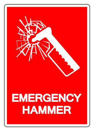 Emergency Hammer Symbol Sign, Vector Illustration, Isolate On White Background Label. Ilustração
