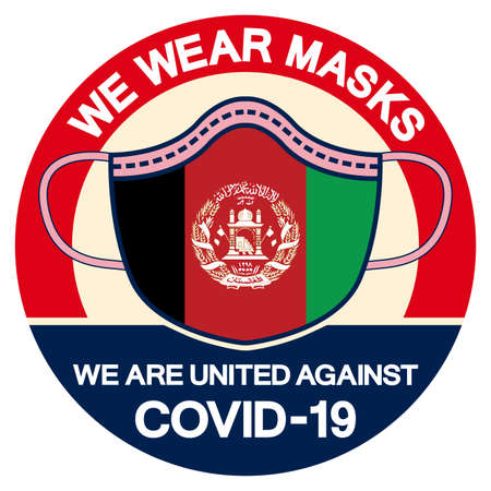 We Afghanistan Wear masks we are united against Covid-19 Symbol Sign, Vector Illustration, Isolate On White Background Label.