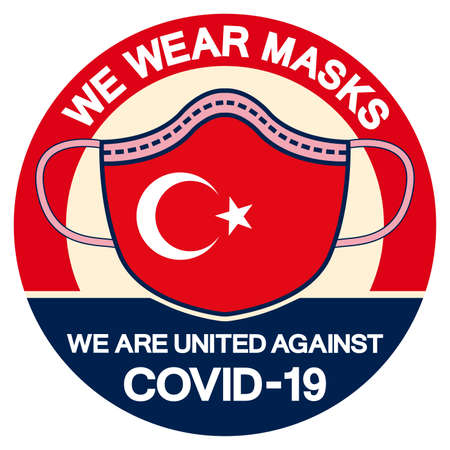 We Turkey Wear masks we are united against Covid-19 Symbol Sign, Vector Illustration, Isolate On White Background Label.
