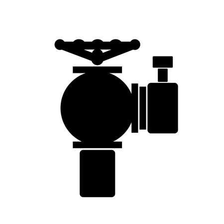 Fire Hydrant Black Icon, Vector Illustration, Isolate On White Background Label. Illustration