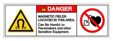Danger Magnetic Fields Located In This Area Can Be Harmful To Pacemakers and other Sensitive Equipment Symbol Sign, Vector Illustration, Isolate On White Background Label . Illustration
